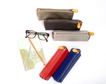 pencil pouch, pencil case, pen case, zipper pouch, cosmetics bag, makeup bag, leather pencil case, teacher gift, farewell gift