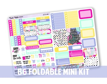 1073-MK // Vertical B6 Foldable Mini Kit for White Space Planning & SMC Inserts  // Retro Collection // Planner Stickers