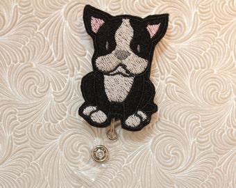 Adorable boston terrier - nursing badge holder - retractable - badge reel - name badge holder - felt - badge buddy - badge pull - pediatric