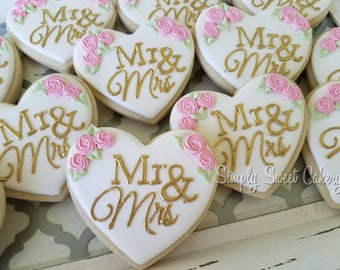 Mr. & Mrs. Wedding cookies/wedding/bridal shower/engagement