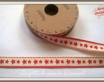 Spool of 3 m of Ribbon red stars no. 3