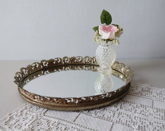 Vintage oval mirror tray 1960s mirrored dresser tray gold frame mirror tray