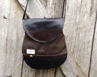 Small shoulder bag, canvas and leather