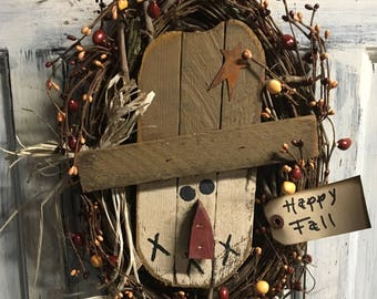"""15""""x8"""" primitively country oval scarecrow wreath"""