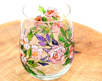 Flower Wine Glass, Hand Painted Wine Glasses, Stemless Wine Glasses, Painted Wine Glasses, Spring Decor, Wedding Glasses, Wine Gift