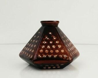 Vintage Glass Lamp Shade / Hexagonal Brown Polka dot Light Globe