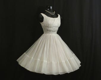 Vintage 1950's 50s White Silver Beaded Ruched Chiffon Organza Party Prom Wedding Dress Gown
