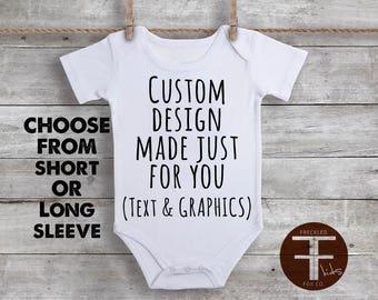 Custom Text & Graphics ONESIE ®, Custom Onesie, Custom Design Onesie, Personalized Onesie, Baby Girl Onesie, Baby Boy Onesie, Baby Reveal