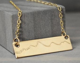 Gold Fill Tetons Necklace, Mountain Range Necklace, Jackson Hole Necklace, Mountain Range, Mountain Jewelry, Rustic Jewelry, Jackson Jewelry