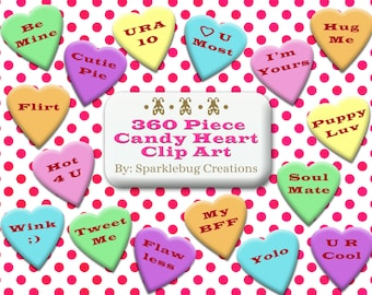 Candy Heart Clip Art Sweetheart Candy Sayings 360 Piece Set Instant Download Scrapbooking and Printable Design