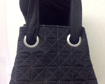 Black Quilted Tote bag, Cross  body tote, shoulder bag