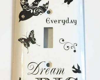 Dream Big Light Switch Cover, House Warming Gift, Hostess Gift, Filegree Bird, Butterflies, Kitchen accent, Bedroom accent, Office Gift