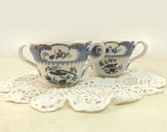 Copeland Spode Aviary Cream Soup Bowls, Set of 2, Blue Border Chelsea Bird, Antique Bouillon Soup Cups, England Staffordshire Pottery
