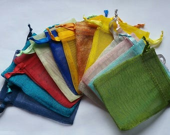 Sale 100 Organza Bags 4 x 6 Mix of minimum 12 colors Sachets handmade soap, bath salt, beads, herbs, favor bag, wedding