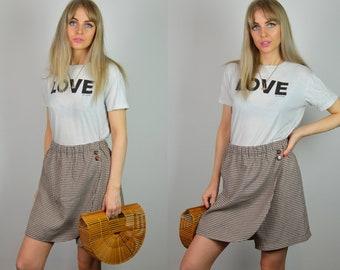 Vintage 90s Brown Gingham High Waist Mini Skirt / Shorts / Skorts