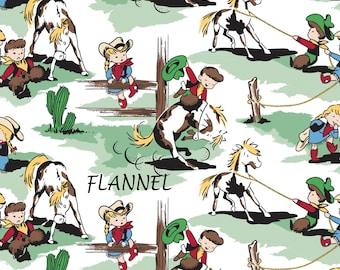 Retro Western Flannel Fabric, Cowgirl Flannel, Cowboy Flannel, Camelot Fabrics 21179909B 2, Baby Flannel, Horses, Cotton Flannel Yardage