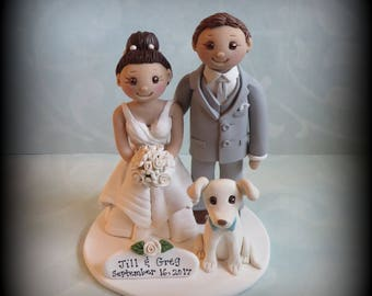 Wedding Cake Topper, Custom, Bride and Groom, Dog, Polymer Clay, Personalized, Wedding/Anniversary Keepsake