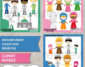 Muslim family clipart sale bundle, Islam man woman kids clip art / hijab girls, digital images, commercial use