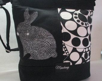 Black Duck Canvas and Rabbit Print Applique on Paisley Print Purse