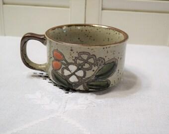 Vintage Stoneware Soup Mug Bowl with Handle Floral Design Retro Kitchen Ware PanchosPorch