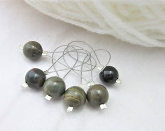Picasso Jasper Stitch Markers (Green,Brown), Pack of 6, Yarn, Wool, Knitting Project, Knit Markers, Fits Most Needles, Notions, Handmade
