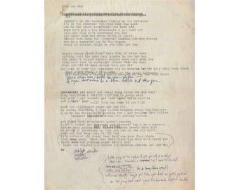 Bob Dylan poster print photo hand written typed song lyrics
