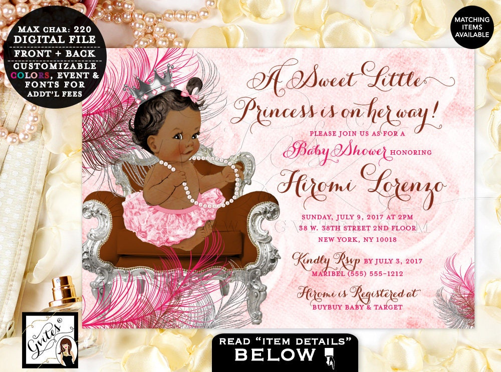 Pink And Silver Baby Shower Invitations Princess African American