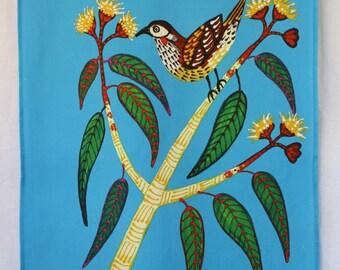 Blue Wattle Bird Australian Tea Towel