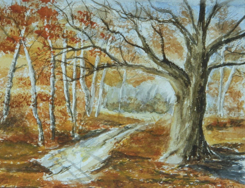 OAK TREE Original Watercolor landscape Path in the woodsBirch