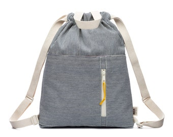 Denim Railroad Stripe Drawstring Kids Backpack, Cotton Drawstring Bag, Drawstring Pouch, Small Drawstring Bag, Cotton Tote Bag