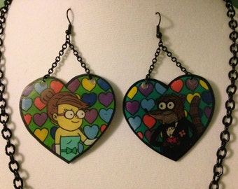 Regular Show Necklace and Earring Set ~ OHHHHHH ~ YEAH-YUH ~ Mordecai ~ Rigby ~ The Gang ~ Shrink Plastic ~ DeadlyDinks