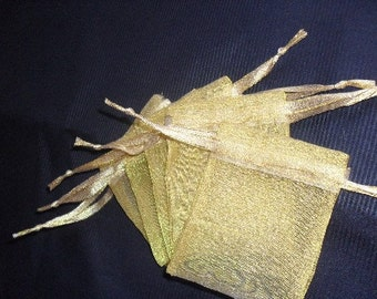Organza Bags / favor bags set of 120 bags 4 x 9 inch in Gold color
