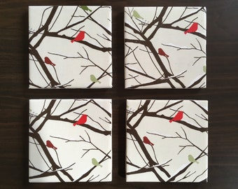 Cardinals in a Winter Forest Coasters