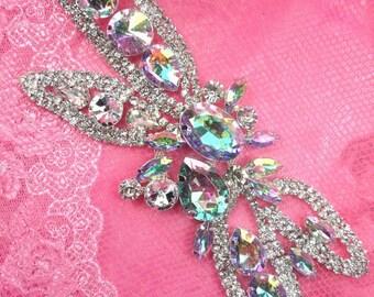 """TS19 Crystal AB Rhinestone Applique Embellishment  7"""""""