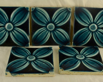 Set of 5 Antique Decorative Art Nouveau Majolica Blue Flower Tiles