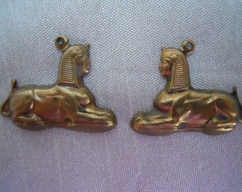 Vintage Oxidized Brass Egyptian Sphinx Charms