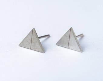 minimal silver earrings - geometric earrings - triangle earrings