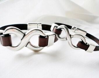 3rd Leather Wedding Anniversary, 2x Matching Bracelet, Set infinity bracelets for him and her, gift for couple, leather and silver plated