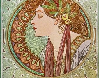 Art NOUVEAU Alphonse MUCHA ART Print named La Lauriel Laurel