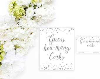 Guess How Many Corks Printable, Bridal Shower Game Printable, Bridal Shower Printable, Bridal Shower Games, Bridal Shower Decor BRS2 BAS3