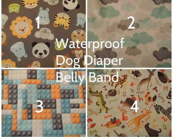 Dog Diaper, Waterproof PUL Fabric with Zorb, Belly Band, Stop Marking, WeeWrap,  Personalized