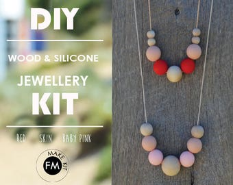 Jewelery Kit//Gifts for Her//Party Games//Party activity//Silicone Beads//Wood Necklace - Red//Skin//Baby Pink colourway