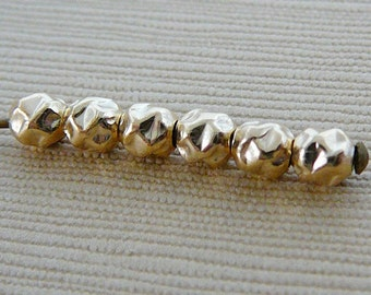 14kt Gold Filled Beads, Bumpy 4mm Round, 6 qty