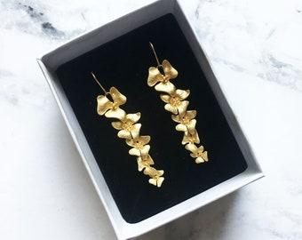Matt Gold Orchid Flower Long Dangle Earring, Bridal Earrings, Bridesmaid Earrings. Wedding Earrings, Cascading Flower Earrings