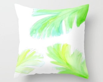 Banana Leaf Pillow, Watercolor Pillow, White Green Throw Pillow, Fresh, Spring, Bright Decorative, Tropical, Beach, Dorm, Office, painting