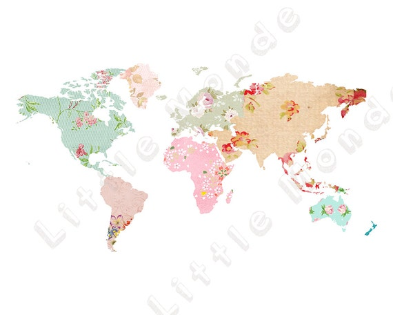 Baby Girl Nursery Prints World Map Poster Patchwork Map