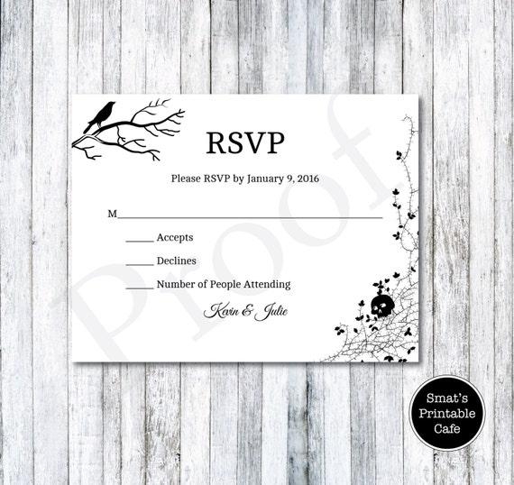 halloween wedding rsvp cards template diy printable gothic