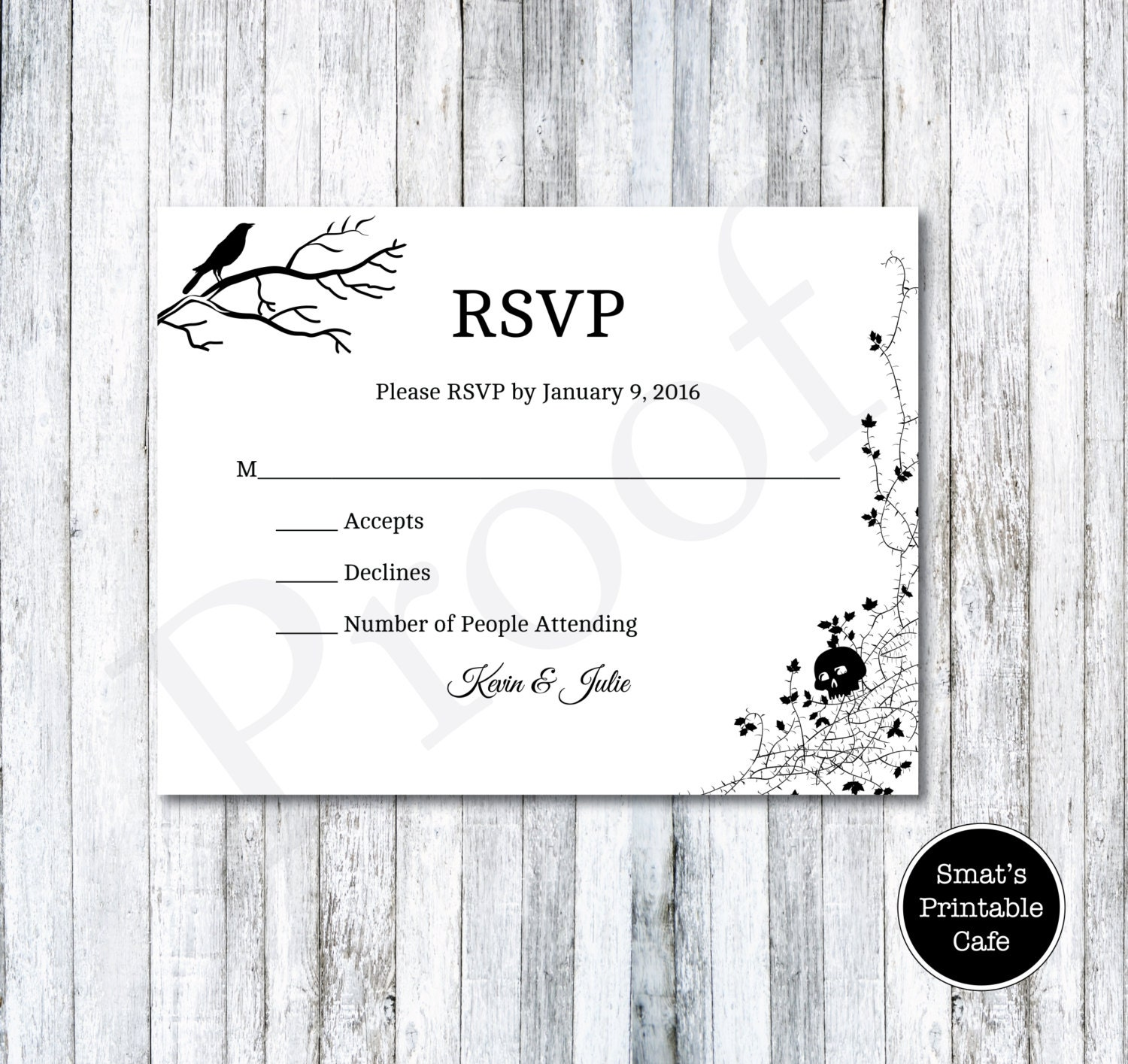 Halloween wedding rsvp cards template diy printable gothic zoom monicamarmolfo Images