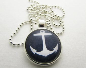 Pendant Necklace - Anchor Necklace - Personalized Necklace - Hand Stamped Letter Necklace