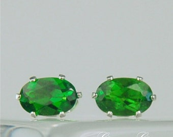 Chrome Diopside Stud Earrings Sterling Silver 6x4mm Oval 1.05ctw Natural Untreated Emerald Green